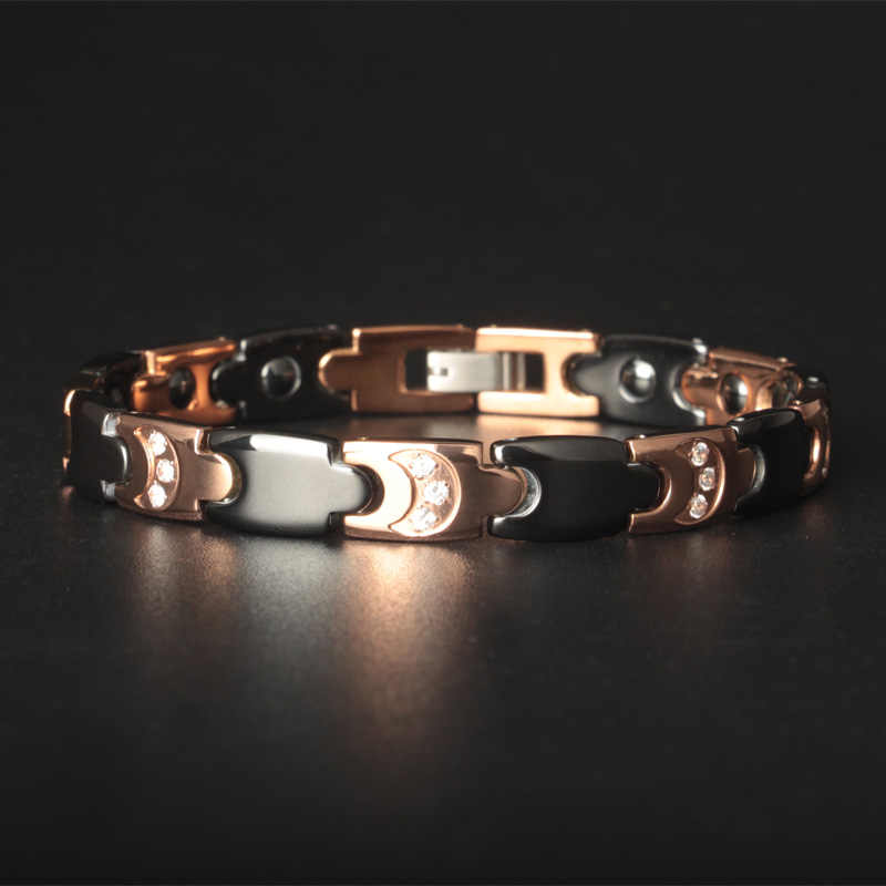 TrustyLan Gold Color Titanium Steel Bracelets For Women Luxury Ceramic With Healthy Magnets Men Bracelet Pulseira Feminina