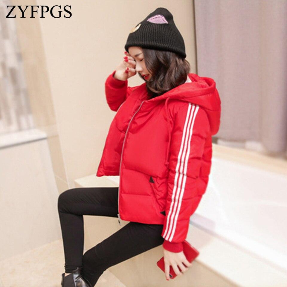 ZYFPGS 2018 Winter Top Women's Down Jacket Hooded Snowing Fashion Cotton Clothing Plus Velvet Sports Female Short Jacket Z1008