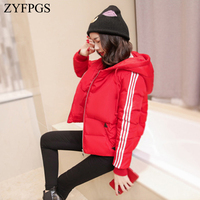 ZYFPGS 2018 Winter Top Women's Down Jacket Hooded Snowing Fashion Cotton Clothing Plus Velvet Sports Female Short Jacket Z1008