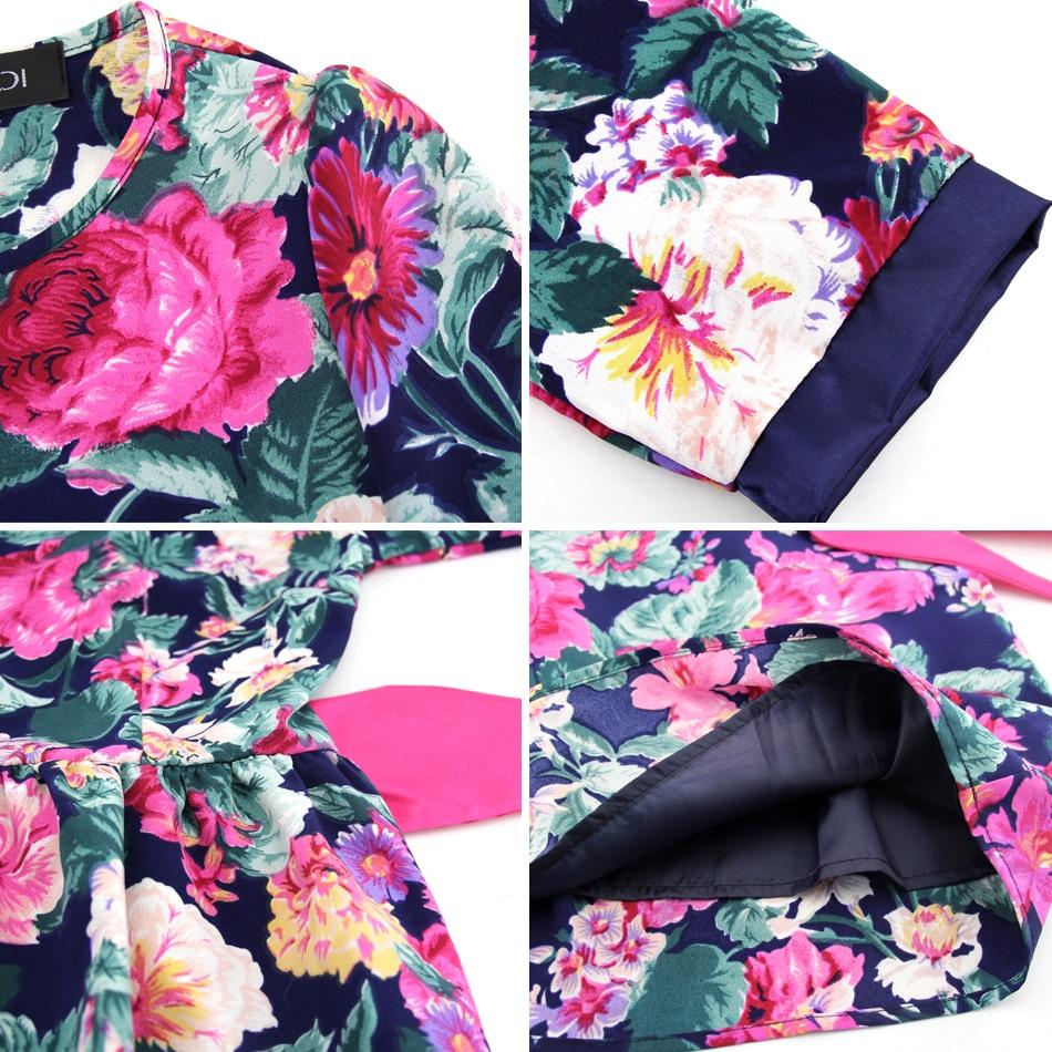 BFDADI 2019 Yaz Kadın Çiçekler Elbise Kemer Elbiseler Ile Tatlı - Bayan Giyimi - Fotoğraf 6