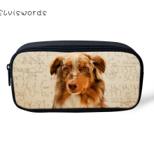 ELVISWORDS Cute Dogs Printing Pencil Case for Children Boys Girls for Students Stationery School Supplies Pencil Box Pen Bags