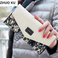 2017 New Fashion Women Wallets 5 Colors Floral Wallet Long Popular Portable Change Purse Delicate Casual