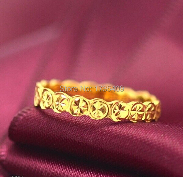 2.5G Solid 999 24K Yellow Gold / Excellent Coin Design Ring Size 5.5