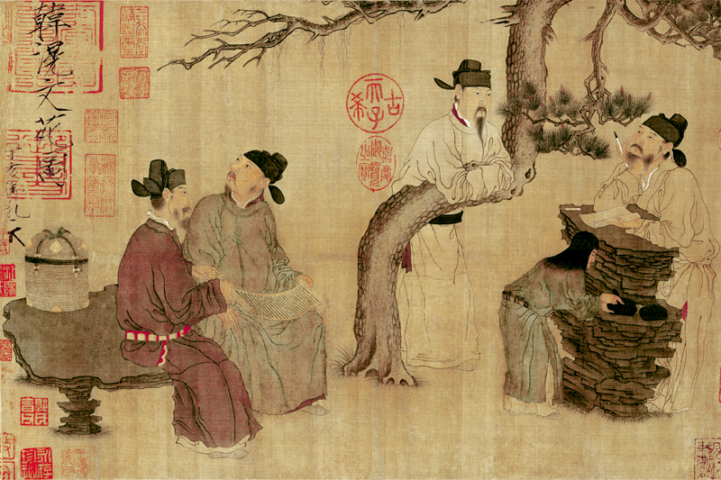 Top 100 traditional Chinese painting masterpiece scenery prints landscape poster home decor Group portrait