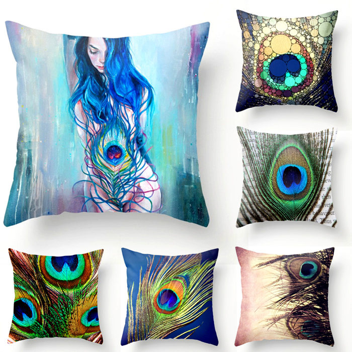 Peacock Style Square Pillow Case Cover Home Bed Waist Cushion Cotton Linen Living Pillow Case 18 quot 45cm in Pillow Case from Home amp Garden
