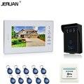 JERUAN 7 дюймов Белый монитор Видео Домофон Видео-Телефон Двери Системы 700TVL Доступа RFID Водонепроницаемый Сенсорный клавиша Камеры + 10 ID