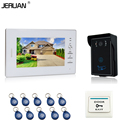 JERUAN 7 inch White monitor Video Intercom Video Door Phone System + 700TVL RFID Access Waterproof Touch key Camera+10 ID
