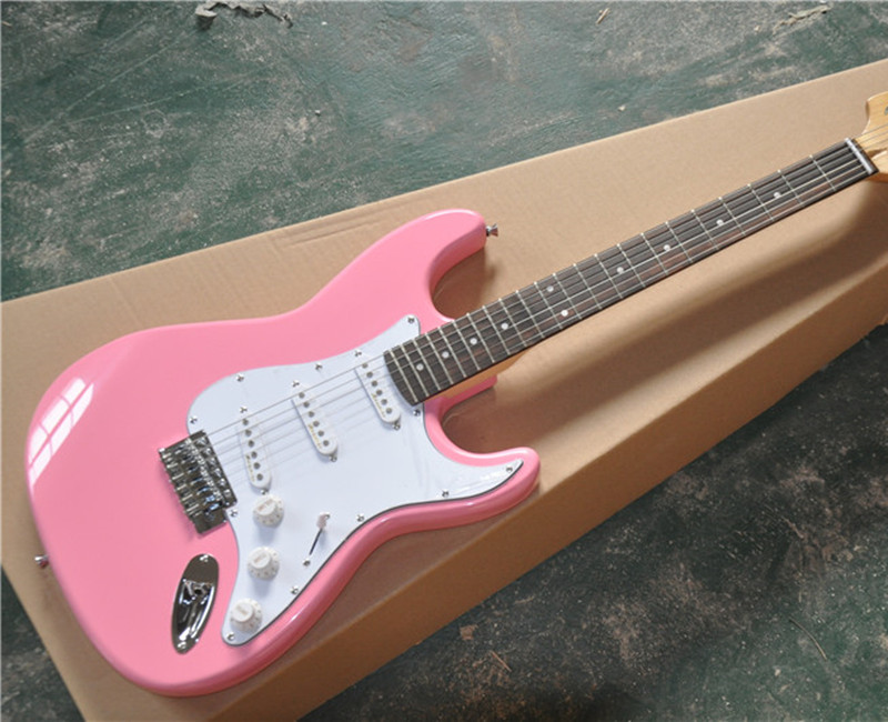 6-String Electric Guitar,Pink color Body with White Pickguard,Reverse Headstock and 3 Single Open Pickups and can be Customized(China)