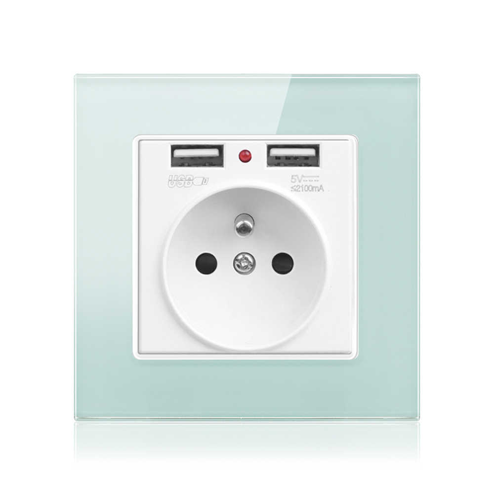 French standard electric socket with USB wall outlet socket glass panel green small prince room decoration with security door