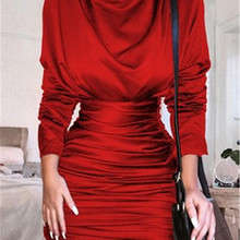Satin Turtleneck Mini Casual Dress Women Long Sleeve Pleated Autumn Sexy Bodycon