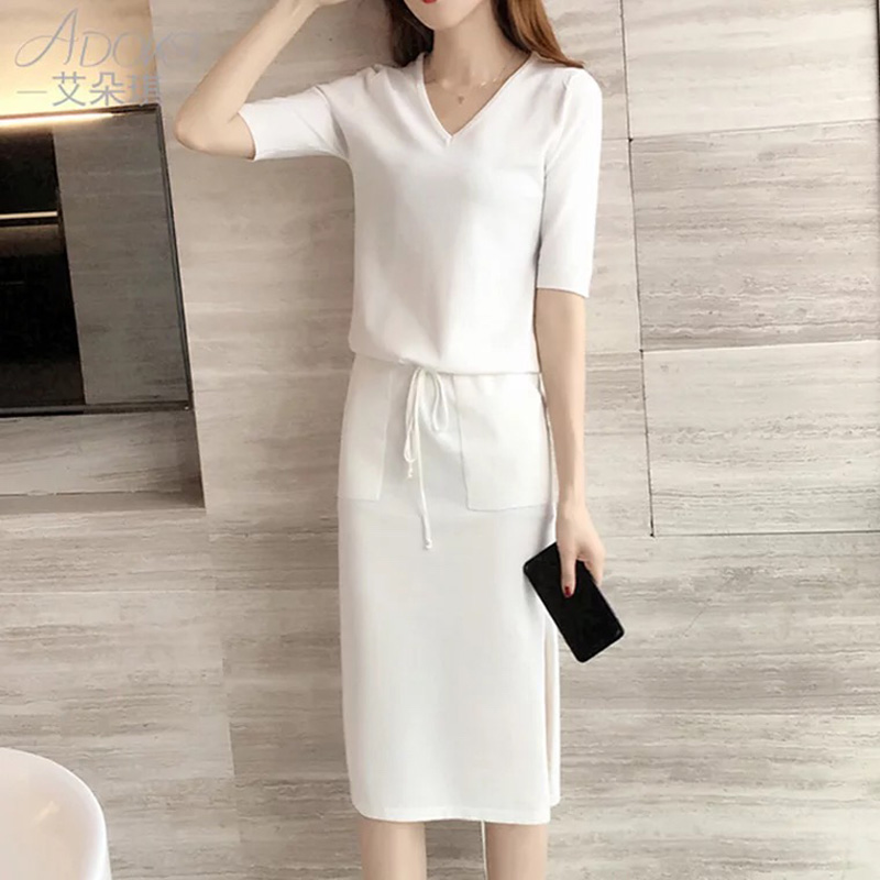 Fashion Casual Summer DressSolid black and white V-Neck Slim Dresses Length:Mid Dress Outfit Evening Party