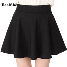 RealShe Women Autumn Pleated Skirt Casual High Waist Short Tutu Skirts Womens Saia Mini 2018 Jupe Femme Skirt