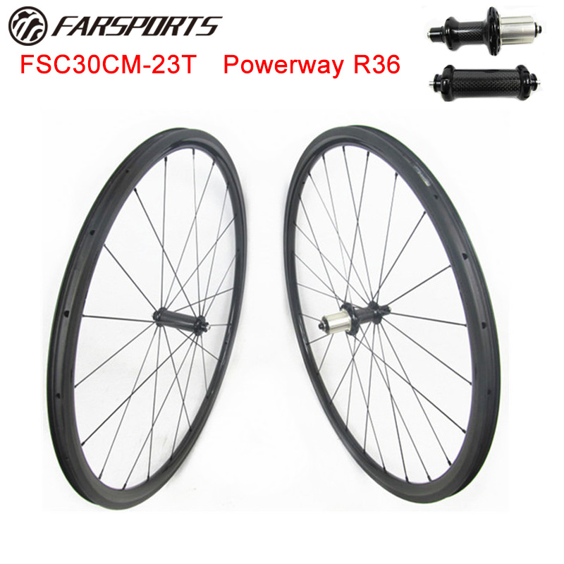 700C carbon clincher road wheelsets 30mm 23mm clincher with Powerway hub FSC30CM 23 tubeless compatible design|carbon clincher|road wheelset|carbon road wheelset clincher - title=