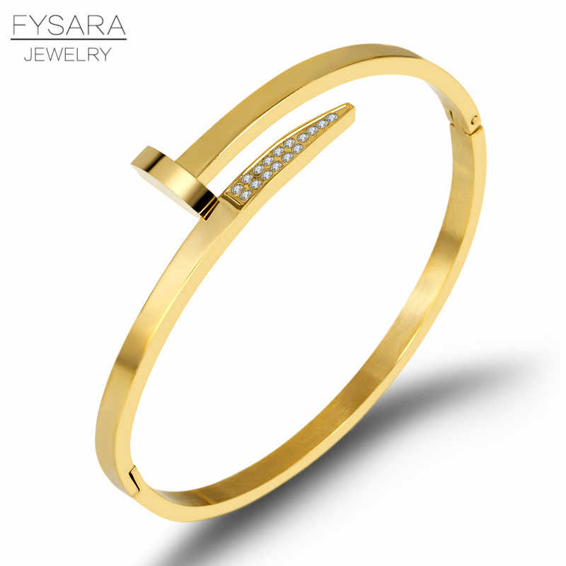 FYSARA Gold Screw Bracelets for Women Men Cubic Zirconia Paved Stainless Steel Nail Bracelet Lover Bangle Fashion Jewelry