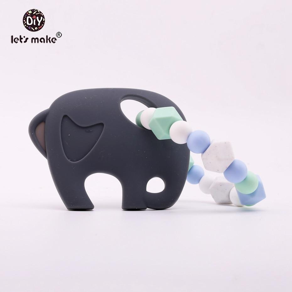 Давайте сделаем ребенка при прорезывании зубов Игрушечные лошадки Детские Силиконовые Бусины слон безопасные детские DIY ремесла погремушк...