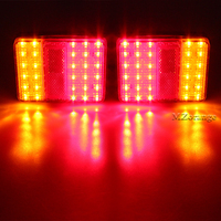DC 12V Waterproof 30 LED Taillights Red Amber Rear Tail Light For Trailer Truck Boat Warning