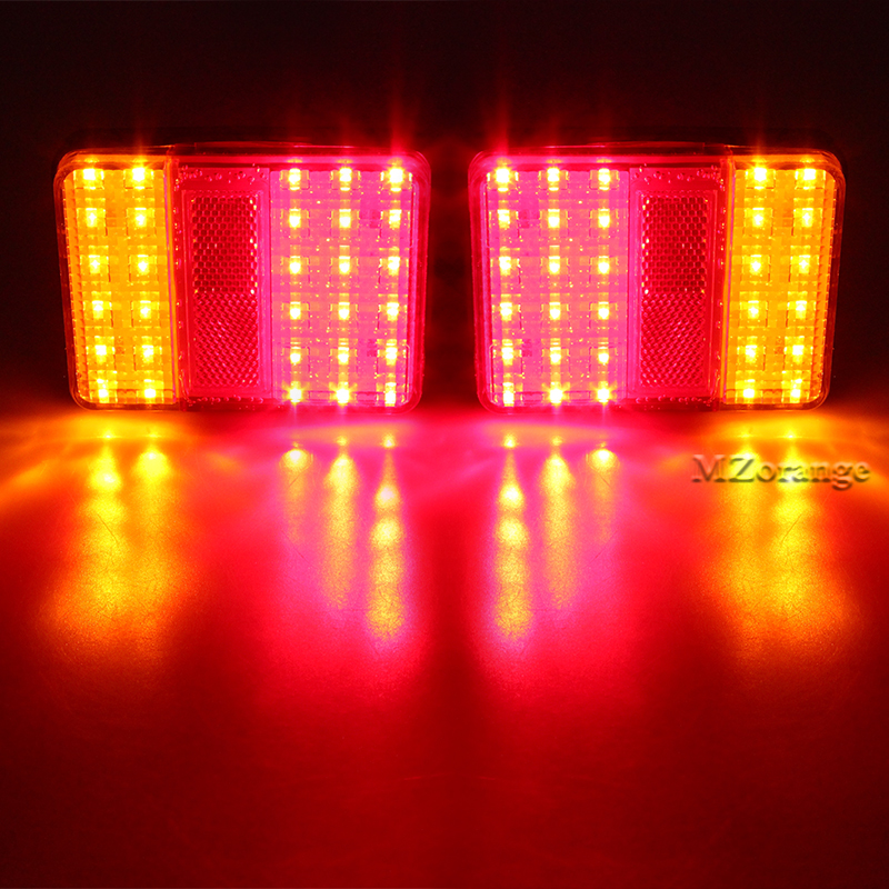 DC 12V Waterproof 30 LED Taillights Red Amber Rear Tail Light For Trailer Truck Boat Warning Turn Signal Lights Car Styling 2pcs 20 led car truck red amber white led trailer waterproof tail lights turn signal brake light stop rear lamp dc 12v cy798 cn
