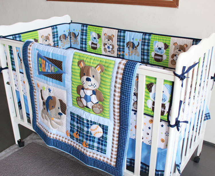 Promotion! 7pcs Embroidery Baby Infant Baby Bedding Set Print breathable,include (bumpers+duvet+bed cover+bed skirt)