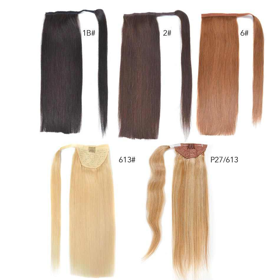 Real Beauty Brazilian Remy Ponytail Wrap Around Horsetail 100% Straight Human Hair Ponytail  60/100/120g Hairpieces