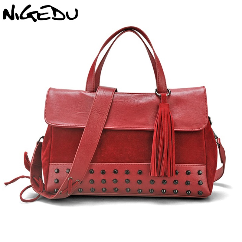 NIGEDU Large capacity rivet women bag vintage casual tassel women PU leather handbags big shoulder bags for female Totes bolsa vvmi 2016 new women handbag brand design rivet suede tassel bag chic classic vintage saddle bag single shoulder bag for female