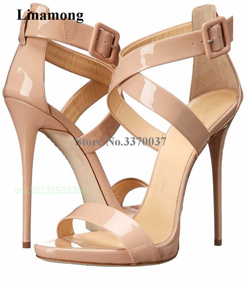 2654752739 Women Classical Nude Patent Leather Gladiator Sandals Ankle Strap Cross  Thin Heel Sandals Super High Heel