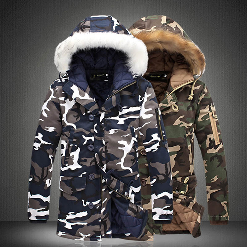 Men Camouflage Hooded Coats Camo Casual Parkas Outerwear Faux Fur Collar Warm Jacket FS99