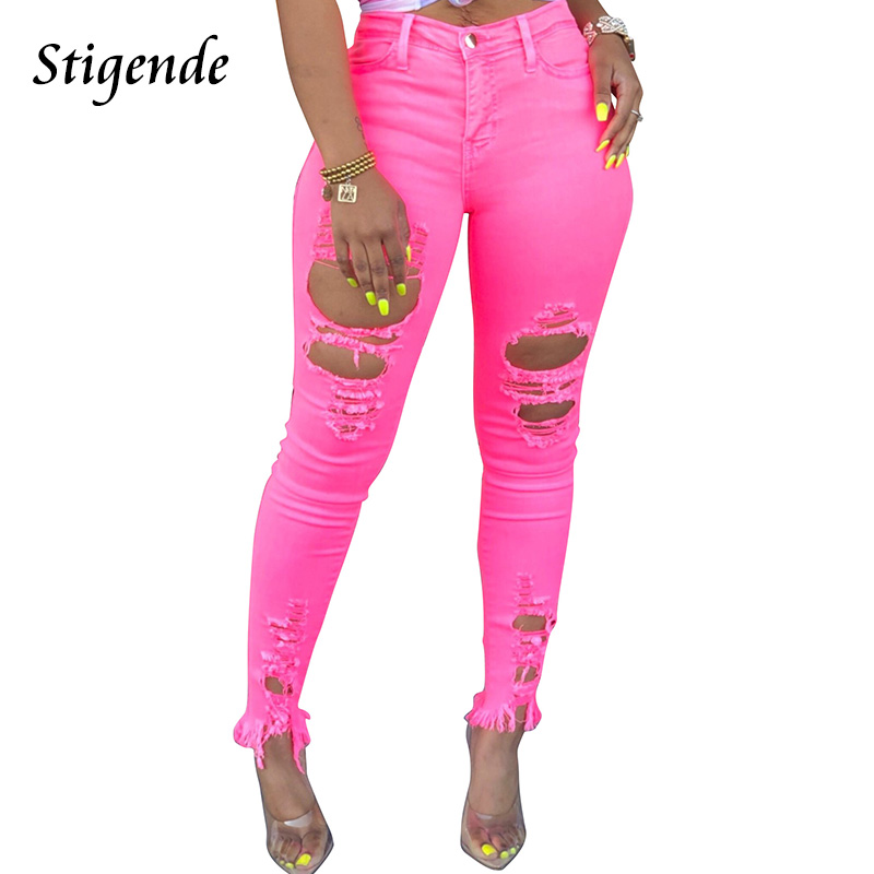 Stigende Fashion Skinny Hole Jeans Pants Women Casual High Waist Stretch Jeans Ladies Sexy Hollow Out Pocket Denim Trousers
