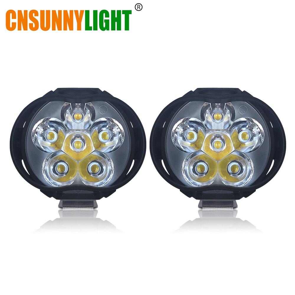 CNSUNNYLIGHT Super Lumineux 1000Lm Motos LED Phare Lampe Scooters Phares Anti-Brouillard Spotlight 6500 k Blanc de Travail Spot Light 9-85 v