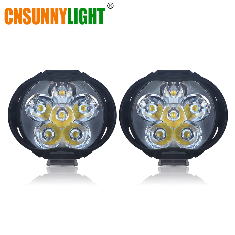 CNSUNNYLIGHT Super Lumineux 1000Lm Motos LED Phare Lampe Scooters Phares Anti-Brouillard Spotlight 6500 k Blanc de Travail Spot Light 9-85 v