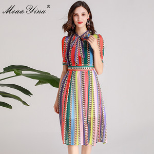 Image 2 - MoaaYina Fashion Designer Runway dress Spring Summer Women Dress Bow collar Short sleeve Colorful Stripe Dresses