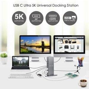 Image 2 - محطة إرساء عالمية USB C من الألمونيوم Wavlink بمنفذ USB 3.0 فائق 5K مزدوج 4K @ 60 هرتز عالي الدقة متعدد شاشة HDMI/Windows إيثرنت جيجابت