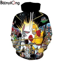 BIANYILONG New Fashion Men Women 3d Hoodies Cartoon Hooded Sweatshirts With Caps Playing Fighting Tracksuits Tops