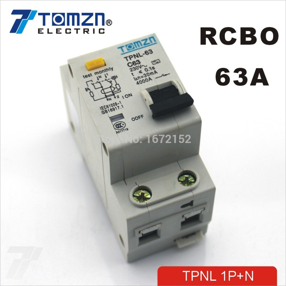 TPNL 1P+N 63A 230V~ 50HZ/60HZ Residual current Circuit breaker with over current and Leakage protection RCBO