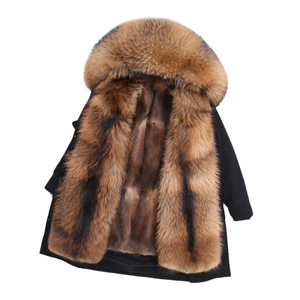 Image 5 - OFTBUY Echt Pelzmantel Super Große Waschbären Pelz Kragen Kapuze Winter Jacke Frauen Parka Natürliche nerz Liner Dicke Warme abnehmbare
