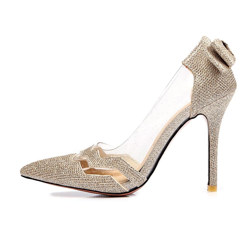 2017 Весна Brand New Золото Серебро Женщины Партийные Bridals Насосы Черные Высокие каблуки Sexy Lady Повседневная Обувь EM.17 Плюс Большой Размер 31 47 12