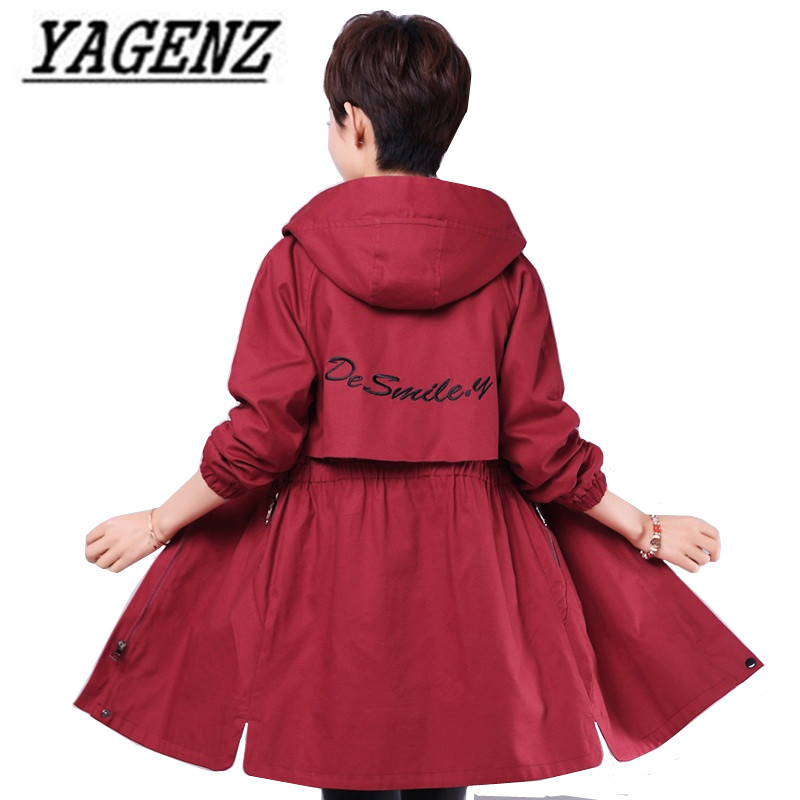 2018 Autumn Medium long Cotton Overcoat Slim Women Windbreaker Plus size Hooded Letter Embroidered Female Casual   Trench   Coat 4XL