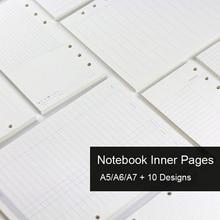 A5, A6, A7 блокнот с отрывным листом, заправка спиральных переплетов, внутренний дневник, еженедельник, ежемесячный планировщик, чтобы сделать список, линия, точка, сетка внутри бумаги