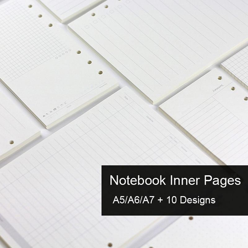Блокнот А5/А6/А7 со сменными листами, сменные внутренние страницы для спиральной тетради, дневника, еженедельного и ежемесячного планера, со ...