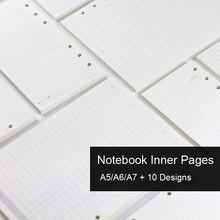 Recambio de cuaderno de hojas sueltas A5, A6, A7, carpeta en espiral, diario de página interior, planificador semanal mensual para hacer lista, línea, red de puntos, papel interior