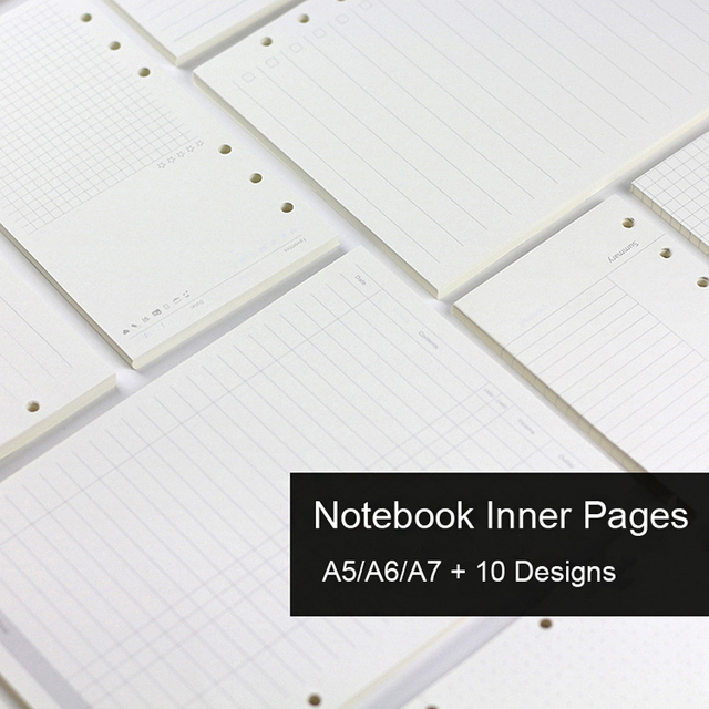 A5 A6 A7 Loose Leaf Notebook Refill Spiral Binder Inner Page Diary Weekly Monthly Planner To