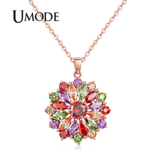 UMODE 2019 New Colorful CZ Zircon Geometric Flower Pendant Necklaces for Women Rose Gold Link Chain Jewelry Bijoux Femme AUN0368