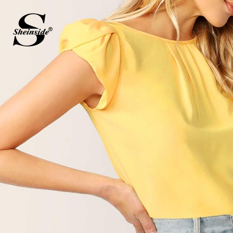Sheinside Green Keyhole Back Petal Sleeve Solid Top Women 2019 Summer Elegant Womens Tops and Blouses Ladies Workwear Casual Top