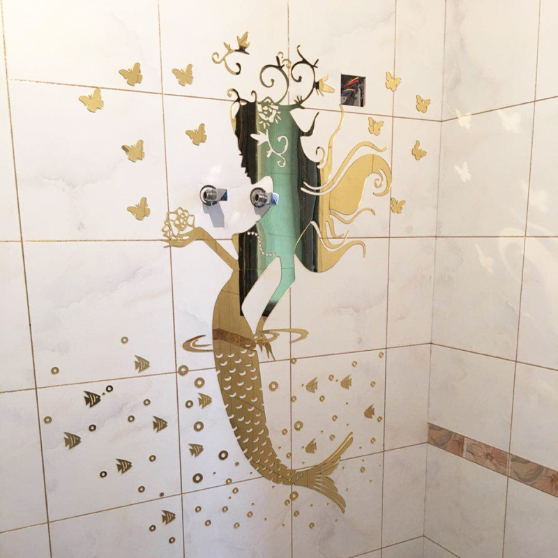 New Style Mermaid Princess Mirror Wall Stickers Bathroom Glass Tile Acrylic 3d Wall Stickers Sexy Fashion Home Decoration