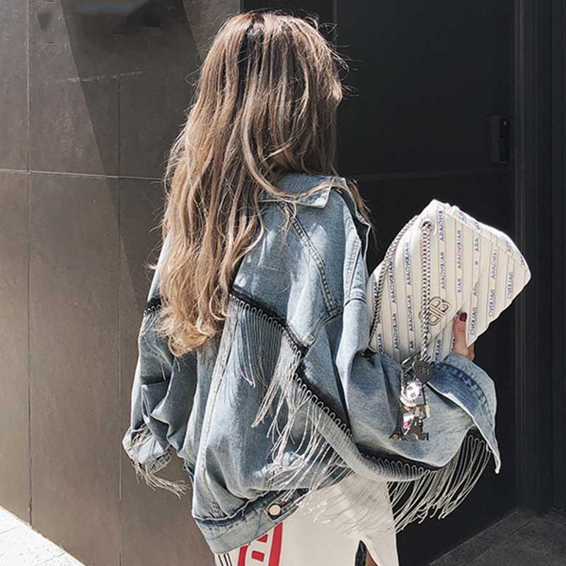 여성 패션 펑크 헤비 meatal 데님 자켓 술 라이트 블루 청바지 자켓 프린지 스트리트웨어 느슨한 판초 슬리브 outwear girl-에서베이식 쟈켓부터 여성 의류 의  그룹 3