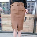 Saias na Altura Do Joelho 2016 Das Mulheres Nova-Coreano de Alta Cintura Fina Saia De Lã Moda Feminina Inverno Saia