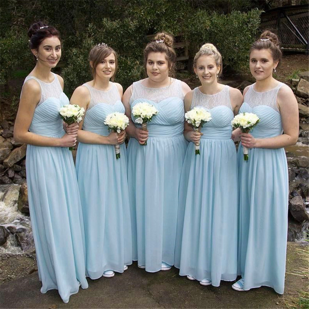 Light Blue Lace Chiffon   Bridesmaid     Dresses   A Line Scalloped Neck Floor Length Simple Long Wedding Party   Dress   Cheap Custom Made
