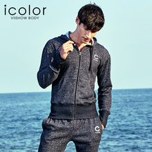 Купить с кэшбэком ICOLOR Sleepwear Long-Sleeve Pajamas Autumn And Winter Black Hooded Mens Pyjamas Sleep Lounge Wear Casual Pajama Sets I-JC01064