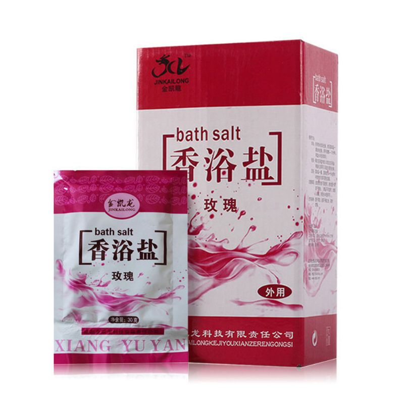 1 Bag Bath Sea Salts Rose Essence Powder Shower Body Foot Massager Skin Care SPA Exfoliation Scruber Gift