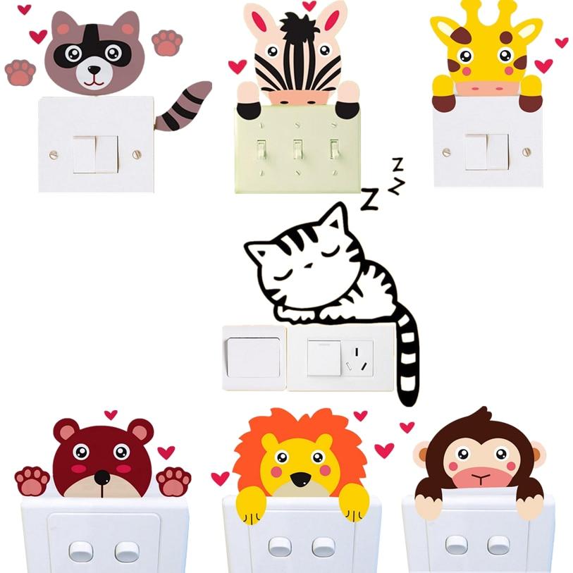 Switch Panel Sticker 7 Colors 1PC Cute Animal Wall Sticker DIY Cartoon Wall Decoration Decal Art Mural Pattern Wallpaper D8