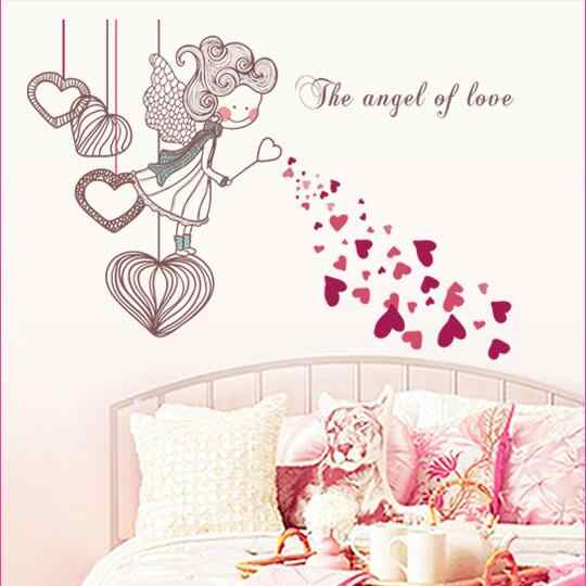 Romantic Cute The Angel Of Love Red DIY Removable Wall Stickers Kids Room Home Decor Mural Decal Happy AY7233